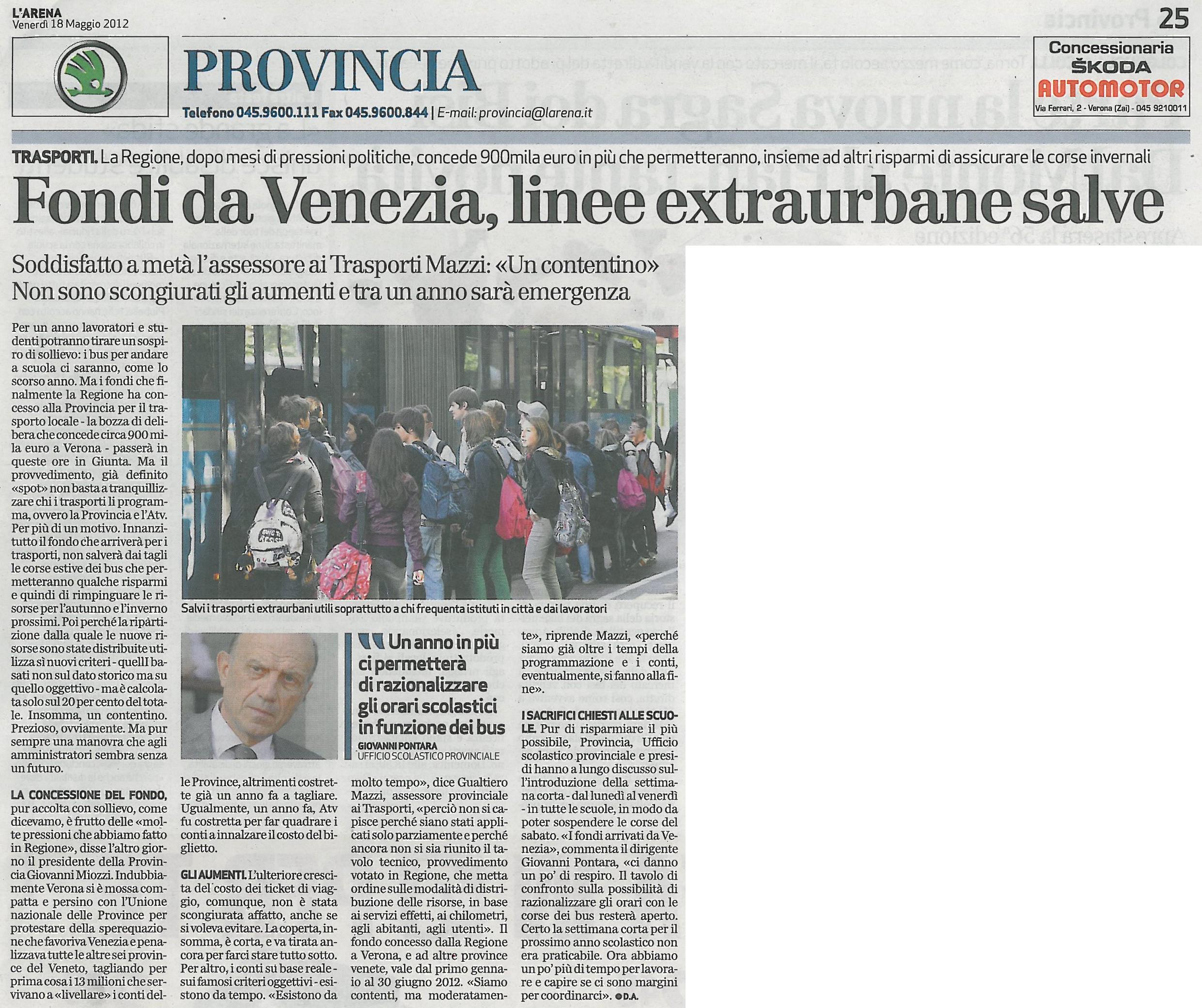 Fondi da Venezia, linee extraurbane salve