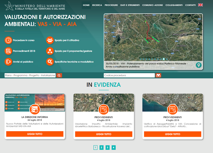 Nuovo portale delle valutazioni e delle autorizzazioni ambientali Vas-Via-Aia