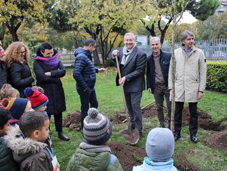 """Grande entusiasmo alla """"Festa degli Alberi"""" a Verona: i bambini hanno messo a dimora 16 piante"""