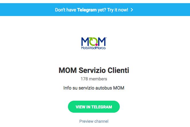 Con Telegram messaggi di info-mobilità in tempo reale per i clienti di MOM
