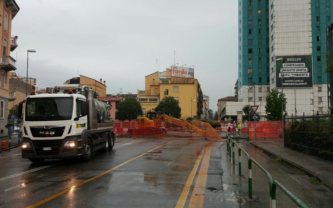 Nonostante il tempo piovoso iniziati i lavori sulla rete idrica previsti dal progetto della nuova linea del tram a Padova