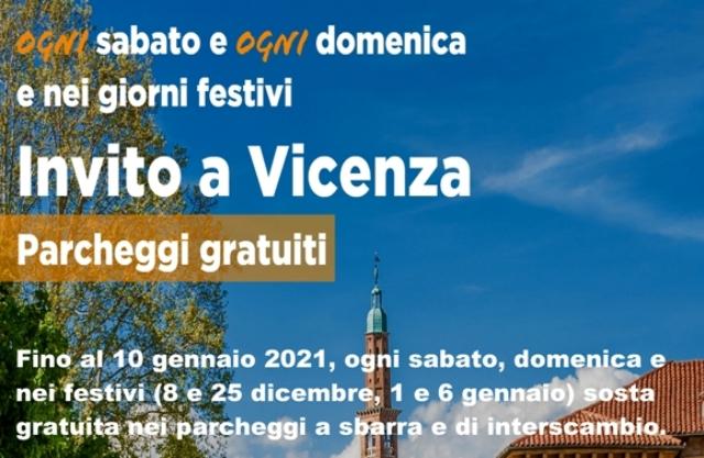 """Sono stati prorogati fino al 10 gennaio i parcheggi gratuiti di """"Invito a Vicenza"""" al sabato, alla domenica e giorni festivi"""