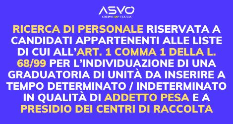 L'Azienda Ambiente Servizi Venezia Orientale seleziona personale addetto pesa e al presidio dei centri di raccolta